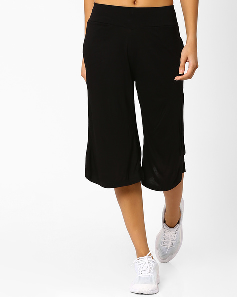 Culottes With Side Pockets By Ajile By Pantaloons ( Black )