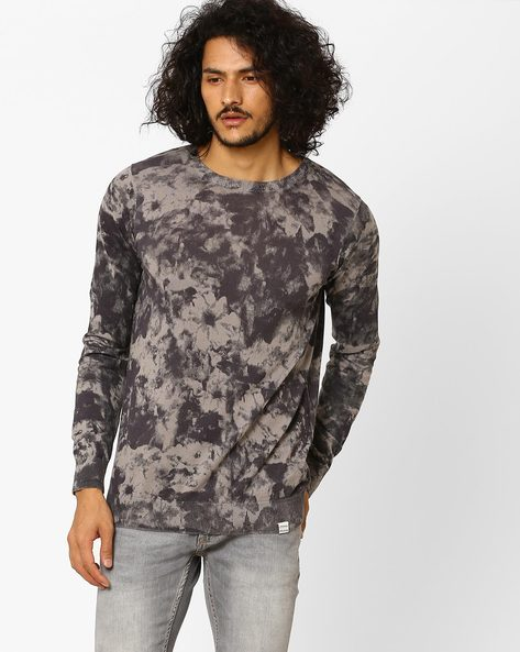 Slim Fit Printed Crew-Neck Pullover By Jack & Jones ( Grey )