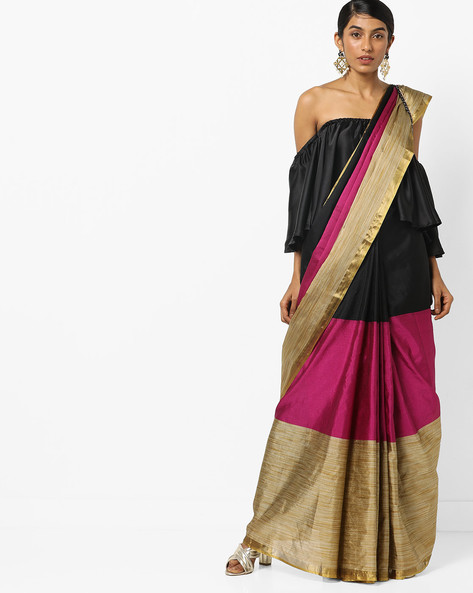 Colourblock Saree With Contrast Border By Florence ( Pink )