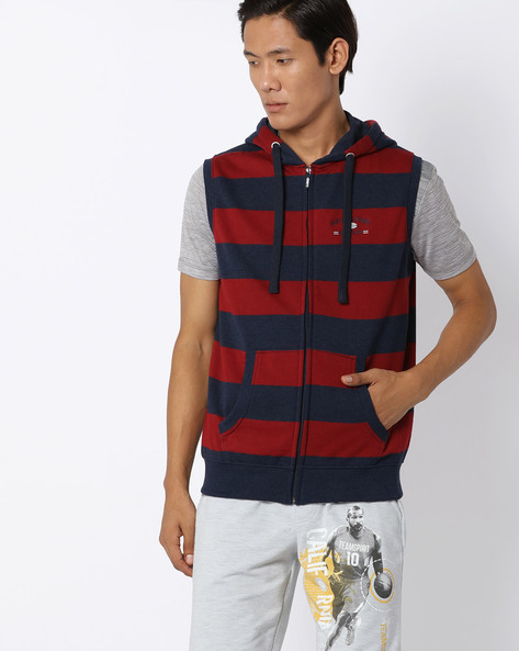 Striped Regular Fit Hooded Jacket By NETPLAY ( Navy )