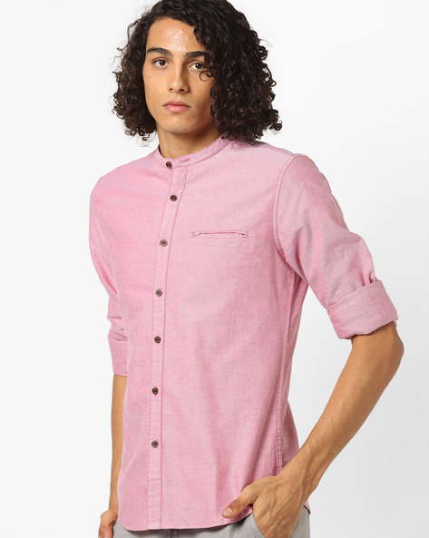 Slim Fit Shirt With Band Collar By AJIO ( Rust )
