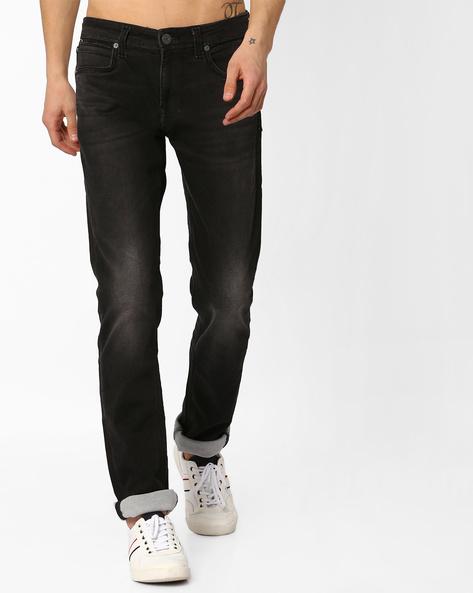 Lightly Washed Slim Fit Jeans By Killer ( Black )