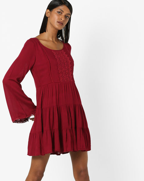Tiered Dress With Crochet Trim By 20Dresses ( Burgundy )