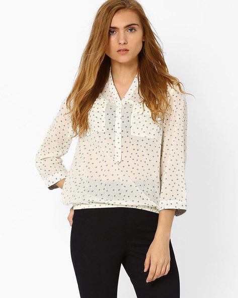 Printed Shirt With Elasticated Hem By FIG ( White )