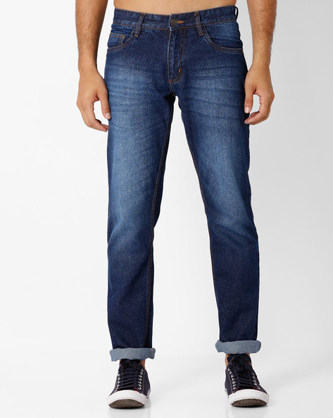 Lightly Washed Slim Fit Jeans By DNMX ( Mediumblue )