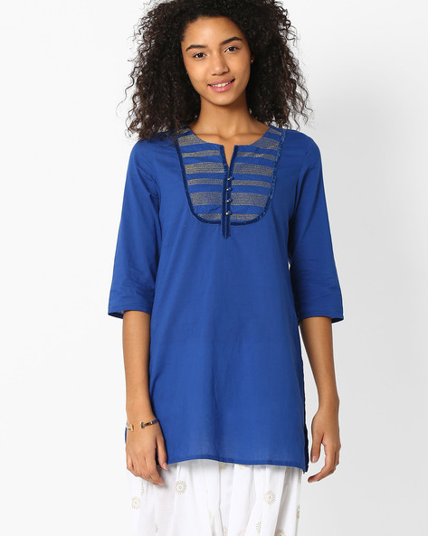 Cotton Kurti With Contrast Detailing By AVAASA MIX N' MATCH ( Navy )
