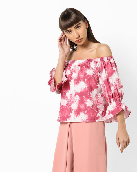 Printed Off-Shoulder Top By AJIO ( Pink )