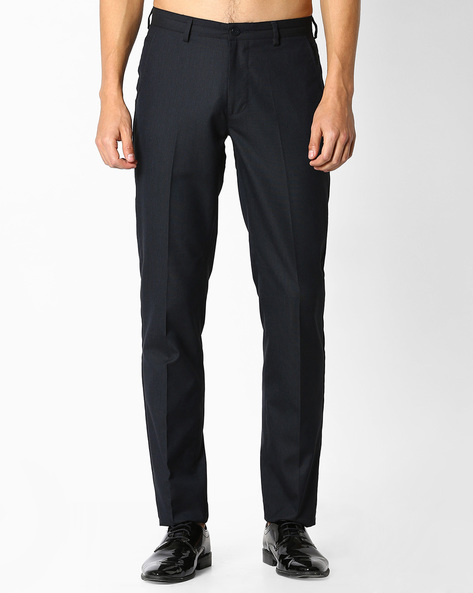 Flat-Front Slim Fit Trousers By NETWORK ( Navy )