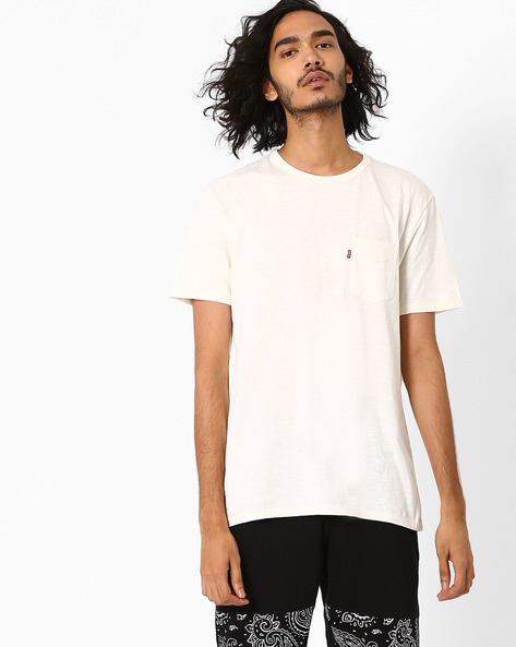 Cotton T-shirt With Patch Pocket By LEVIS ( White )