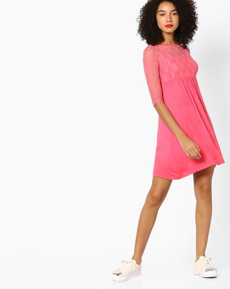 Shift Dress With Floral Lace By And ( Ltpink )