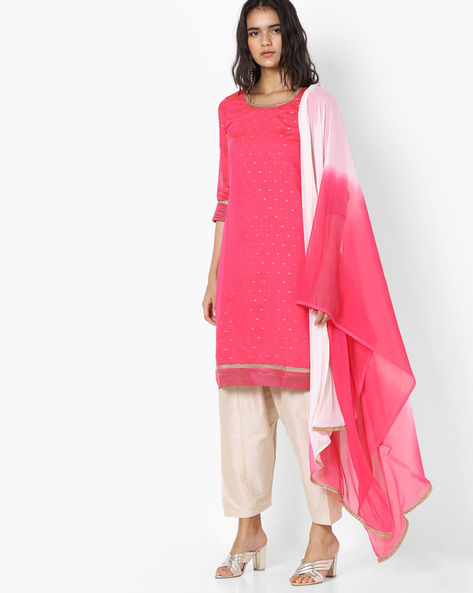 Kurta Suit Set With Ombre-Dyed Dupatta By Trishaa By Pantaloons ( Pink )