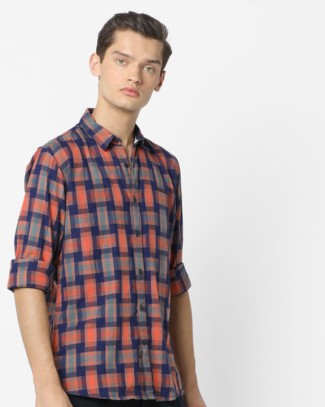 Checked Cotton Shirt By WRANGLER ( Blue )
