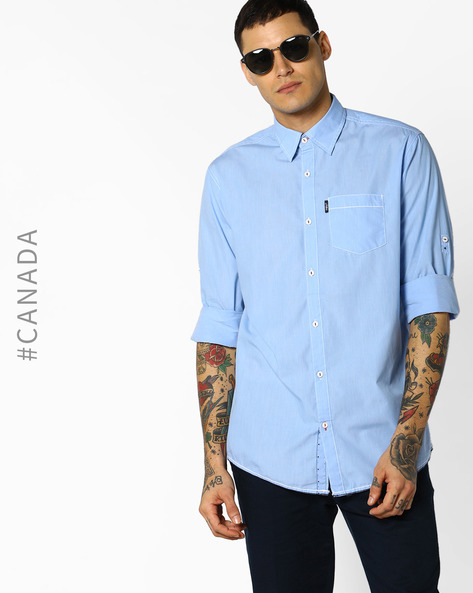 Semi Fit Shirt With Patch Pocket By Point Zero ( Nile )