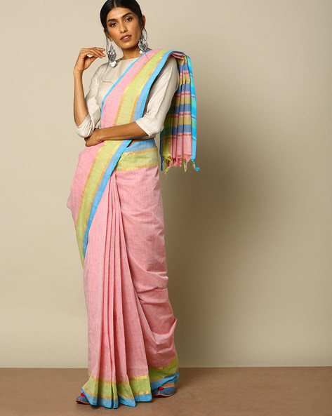 South Cotton Striped Saree With Zari Border By Indie Picks ( Multi )