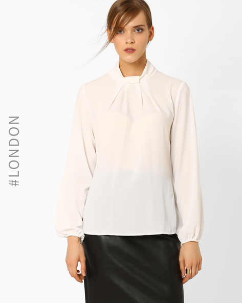 Bow-Neck Blouse With Long Sleeves By Closet London ( White )