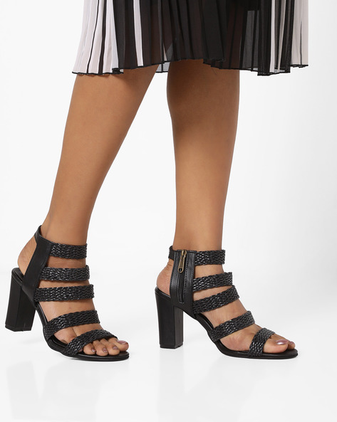 Ankle-Strap Heels With Braided Design By MFT Couture ( Black )