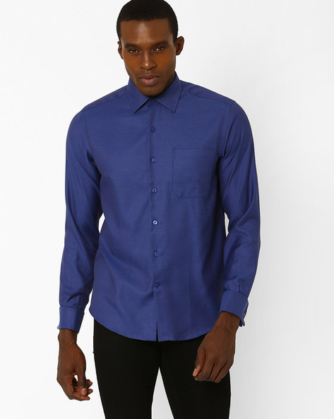 Blair Classic Slim Fit Shirt By Wills Lifestyle ( Blue )