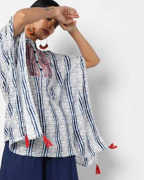 Printed Kaftan Top With Embroidery By AJIO ( Blue )