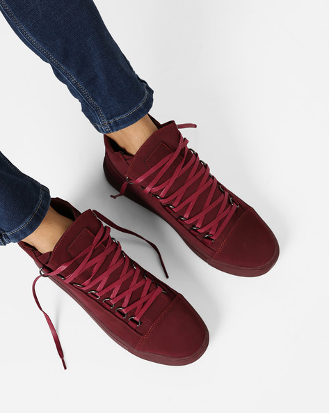 Panelled Mid-Top Lace-Up Sneakers By AJIO ( Maroon )