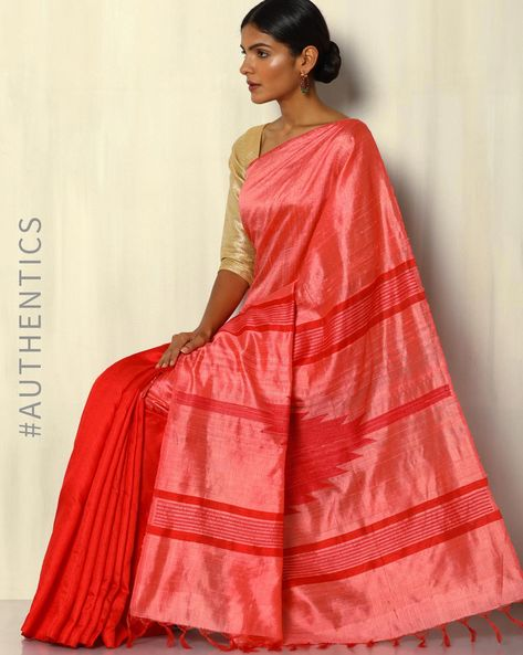 Handloom Dupion Pure Silk Saree By Pretty Woman ( Pink )