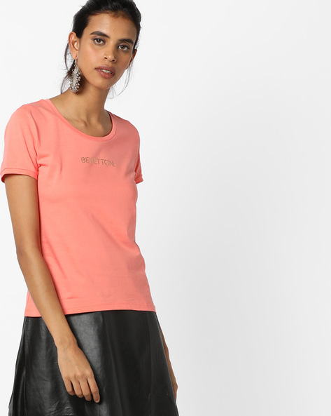 Crew-Neck T-shirt With Brand Print By UNITED COLORS OF BENETTON ( Pink )