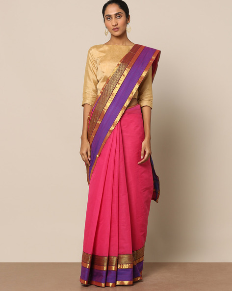 Cotton Saree With Contrast Border By Indie Picks ( Pink )