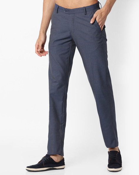 Slim Fit Flat-Front Trousers By VIMAL APPARELS ( Indigo )
