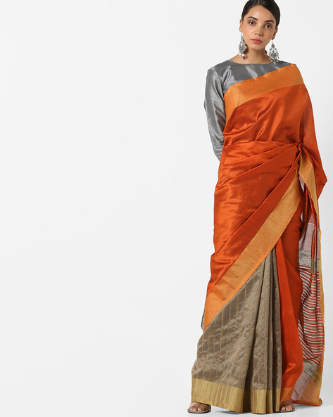 Banarasi Woven Saree With Contrast Border By Parmita ( Rust )