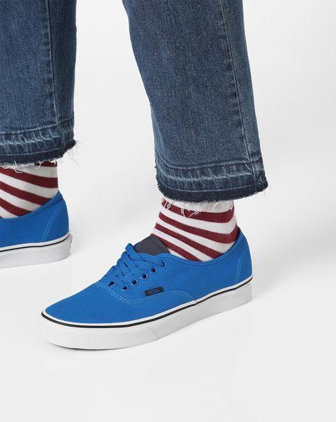 Canvas Lace-Up Shoes By Vans ( Blue )
