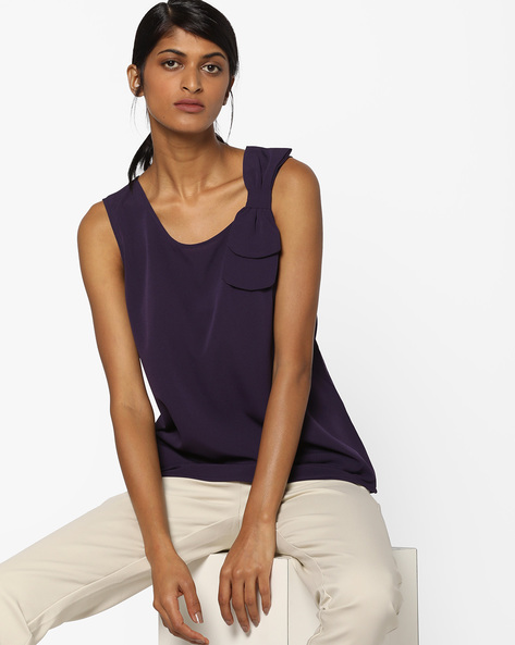 Sleeveless Top With Layered Bow By AJIO ( Purple )