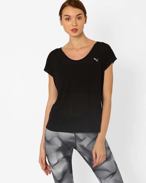 T-shirt With Curve Hemline By Puma ( Black )