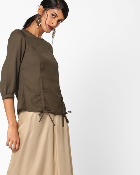 Panelled Top With Tie-Ups By Oxolloxo ( Khaki )