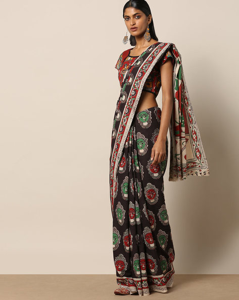 Printed Kalamkari Cotton Saree By Pretty Woman ( Black )
