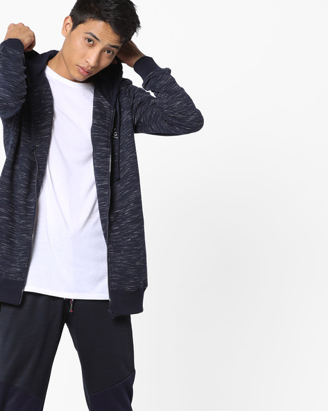 Heathered Hooded Sweatshirt With Zip Front By Killer ( Navy )