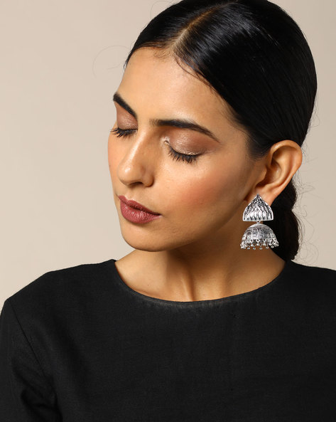 Brass Jhumka Earrings By Studio B40 ( Goldensilver )