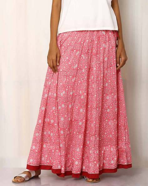 Handblock Print Cotton Long Skirt By Pink Lemon ( Peach )