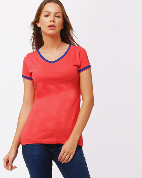 V-neck T-shirt With Contrast Hems By TEAM SPIRIT ( Ltpeach )