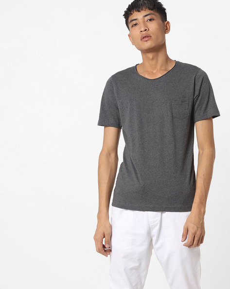 Heathered Slim Fit Cotton Shirt By The Indian Garage Co ( Gray )