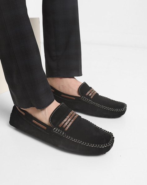 Suede Moccasins With Overlays By Acuto ( Black )