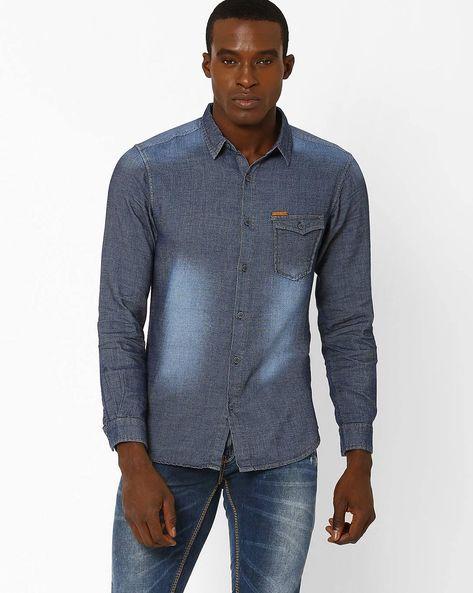 Lightly Washed Denim Shirt By SPYKAR ( Blue )