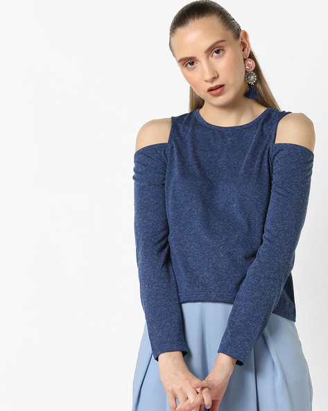 Top With Cold-Shoulder Sleeves By Ginger By Lifestyle ( Navy )
