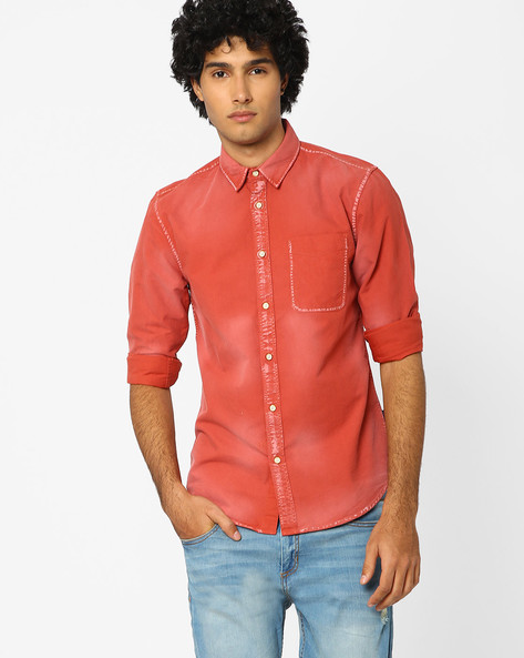 Slim Fit Shirt With Patch Pocket By Jack & Jones ( Maroon )
