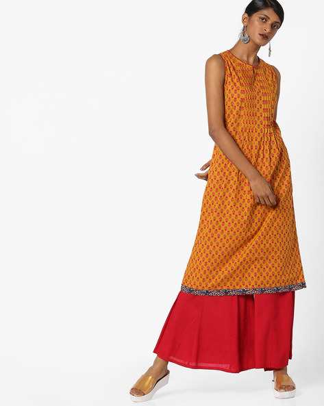 Printed Kurta With Contrast Taping By AJIO ( Mustard )