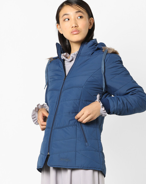 Open-Front Jacket With Hood By Fort Collins ( Blue )
