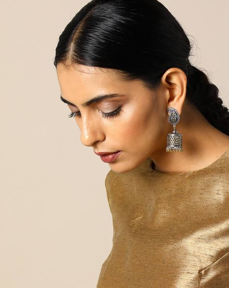 Two-Toned Paisley Brass Jhumka Earrings By Studio B40 ( Goldensilver )