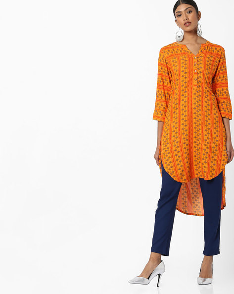 Floral Print Tunic With High-Low Hemline By Global Desi ( Mustard )