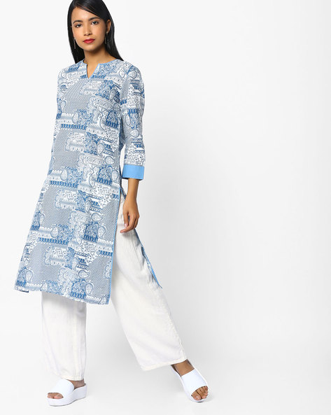 All-Over Print Straight Kurta By AJIO ( Multi )
