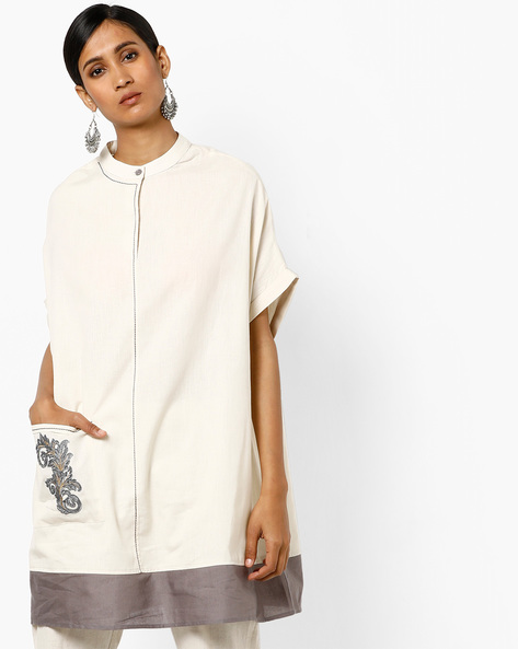 Straight Tunic With Band Collar By AJIO ( Offwhite )