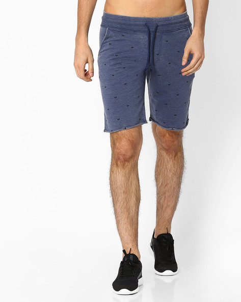 Printed Burnout Shorts By Garcon ( Navyblue )