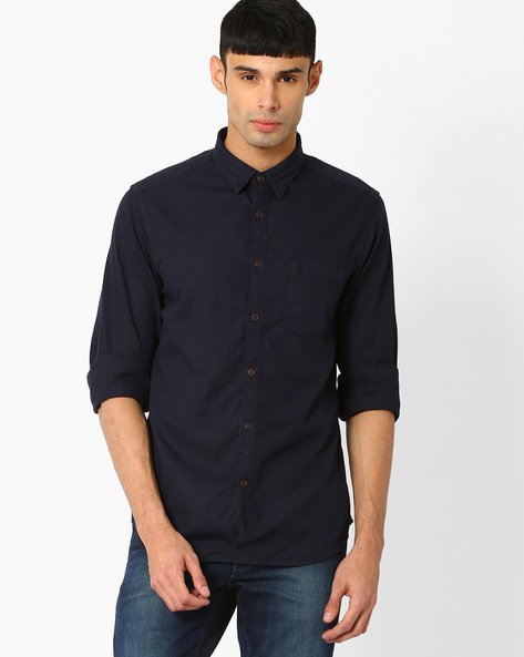 Regular Fit Shirt With Patch Pocket By INDIAN TERRAIN ( Navy )